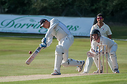 Chris Green hits a huge six for Bishop's Stortford against Potters Bar, Cricketfield Lane, Bishop's Stortford, UK on 21 June 2014. Photo: Simon Parker