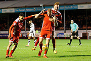 Crawley Town forward Thomas Verheydt (23) celebrates his goal (score 1-1) with Crawley Town defender Josh Yorwerth (15)  during the EFL Sky Bet League 2 match between Crawley Town and Forest Green Rovers at the Checkatrade.com Stadium, Crawley, England on 11 November 2017. Photo by Andy Walter.
