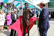 The great Lester Piggott, together with Lord Grimthorpe unveils a life size bronze statue by sculptor William Newton outside the Edwardian Weighing Room  during the Ebor Festival at York Racecourse, York, United Kingdom on 21 August 2019.