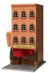 Iconic rendering of a classic Hotel front isolated on a white background