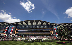 General view of the main grandstand during day three of Royal Ascot at Ascot Racecourse. PRESS ASSOCIATION Photo. Picture date: Thursday June 21, 2018. See PA story RACING Ascot. Photo credit should read: John Walton/PA Wire. RESTRICTIONS: Use subject to restrictions. Editorial use only, no commercial or promotional use. No private sales.