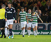 20th September 2017, Dens Park, Dundee, Scotland; Scottish League Cup Quarter-final, Dundee v Celtic; James Forrest is congratulated after scoring Celtic's second goal for 2-0 by Scott Brown