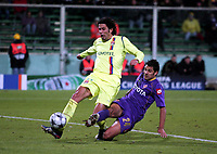 FOOTBALL - CHAMPIONS LEAGUE 2008/2009 - GROUP STAGE - GROUP F - 25/11/2008 - ACF FIORENTINA v OLYMPIQUE LYONNAIS - FABIO GROSSO (OL) / MARIO ALBERTO SANTANA (FIO) <br />