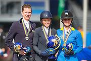 Podium 5 Jarige 1. Pippa Goddard - Chilli, 2. Felix Hassmann - Quiwitino WZ, 3. Angelique Rusen - Calvino<br /> FEI WBFSH World Breeding Jumping Championships for Young Horses 2017<br /> © DigiShots
