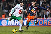 Fotball<br /> Frankrike<br /> Foto: Dppi/Digitalsport<br /> NORWAY ONLY<br /> <br /> FOOTBALL - FRENCH CHAMPIONSHIP 2010/2011 - L1 - MONTPELLIER HSC v AS SAINT ETIENNE - 05/02/2011<br /> <br /> LOIC PERRIN (ASSE) / GEOFFREY DERNIS (MON)