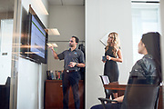 Employees of Quorum and Whitlock use the Microsoft Surface Hub for video conferencing and presentations in at Quorum's offices in Houston, TX on Wednesday January 11, 2107.<br /> <br /> Nathan Lindstrom Photography<br /> &copy;2017 Nathan Lindstrom