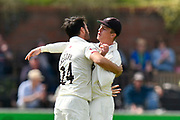 Wicket - Lewis Gregory of Somerset celebrates taking the wicket of Daryl Mitchell of Worcestershire with Tom Abell of Somerset  during the Specsavers County Champ Div 1 match between Somerset County Cricket Club and Worcestershire County Cricket Club at the Cooper Associates County Ground, Taunton, United Kingdom on 22 April 2018. Picture by Graham Hunt.