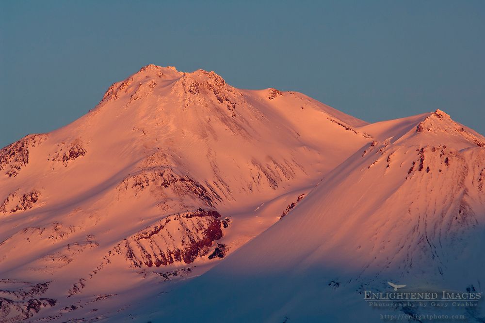 Alpenglow on the summit of Mount Shasta, Siskiyou County, California