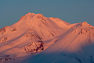 Alpenglow on the summit of Mount Shasta, Siskiyou County, California