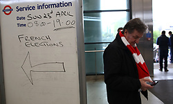 23 April 2017 FA Cup semi-final : Arsenal v Manchester City :<br /> a sign for the French polling station at Wembley Park station.<br /> Photo: Mark Leech