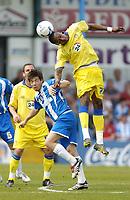 Photo: Olly Greenwood.<br />Colchester United v Leeds United. Coca Cola Championship. 09/04/2007. Colchester's Kem Izzet and Leeds' Trevor Kandol