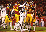 25 OCTOBER 2008: Iowa State quarterback Austen Arnaud (4) celebrates a touchdown in the second half of an NCAA college football game between Iowa State and Texas A&M, at Jack Trice Stadium in Ames, Iowa on Saturday Oct. 25, 2008. Texas A&M beat Iowa State 49-35.