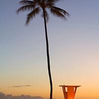 Dusk at Waikiki Beach Lifeguard T1 at Fort DeRussy .