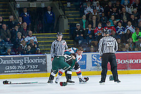 KELOWNA, CANADA - DECEMBER 30: Myles Bell #29 of the Kelowna Rockets drops the gloves with Ryan Harrison #22 of the  Everett Silvertips at the Kelowna Rockets on December 30, 2012 at Prospera Place in Kelowna, British Columbia, Canada (Photo by Marissa Baecker/Shoot the Breeze) *** Local Caption ***