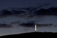 Wantage, New Jersey - Clouds behind the High Point Monument at twilight on Sept. 14, 2013. The monument is located on the highest elevation in the state at 1,803 feet. The 220-foot tower was built in 1930 to commemorate the war dead.