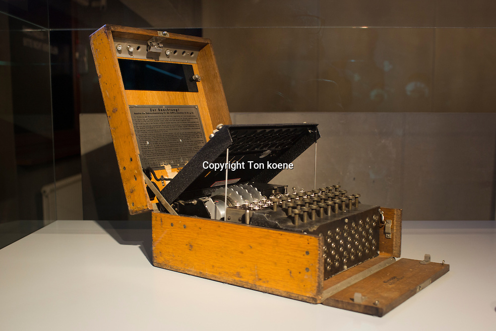 Enigma coding machine at the spy museum in Berlin.