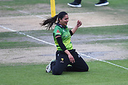 Sonia Odedra of Western Storm celebrates the wicket of Suzie Bates during the Kia Women's Cricket Super League Final match between Western Storm and Southern Vipers at the 1st Central County Ground, Hove, United Kingdom on 1 September 2019.