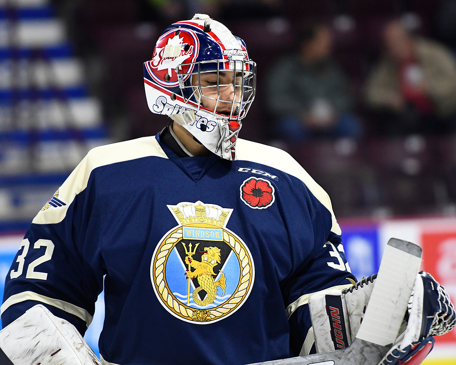 Michael DiPietro of the Windsor Spitfires in the opening game of the 2017 MasterCard Memorial Cup against the Saint John Sea Dogs at the WFCU Centre in Windsor, ON on Friday May 19, 2017. Photo by Aaron Bell/CHL Images