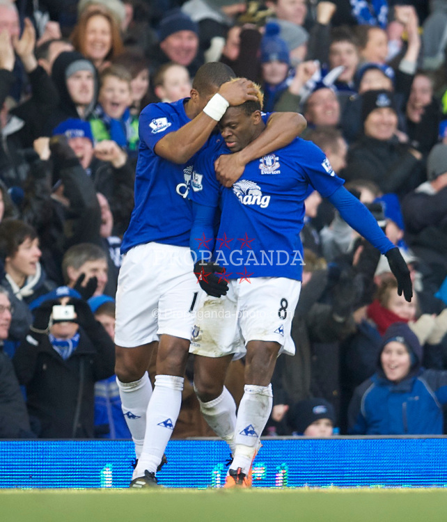 LIVERPOOL, ENGLAND - Saturday, January 29, 2011: Everton's Louis Saha celebrates scoring the opening goal against Chelsea during the FA Cup 4th Round match at Goodison Park. (Photo by David Rawcliffe/Propaganda)