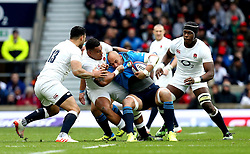 Sergio Parisse of Italy is tackled by Nathan Hughes of England - Mandatory by-line: Robbie Stephenson/JMP - 26/02/2017 - RUGBY - Twickenham Stadium - London, England - England v Italy - RBS 6 Nations round three