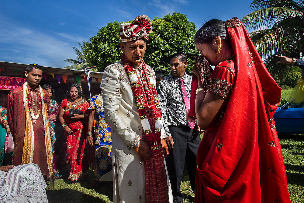 Kawakawa, near Labasa, Fiji: Arvendra Kumar returns home for his wedding and shares an emotional moment with his mother, Premila Wati. Arvendra works in Latoka as a branch manager for an insurance company based in Suva.