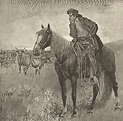 A Montana cowboy watching the herd during a quiet moment in a cattle drive.  Engraving 1885.