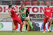 Paul Robinson of AFC Wimbledon clears the danger during Sky Bet League 2 match between Leyton Orient and AFC Wimbledon at the Matchroom Stadium, London, England on 28 November 2015. Photo by Stuart Butcher.