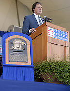 COOPERSTOWN, NY - JULY 27:  2014 Baseball Hall of Famer inductee Tony LaRussa gives his acceptance speech during the 2014 HOF induction ceremonies held at the Clark Sports Center in Cooperstown, New York on July 27 2014.
