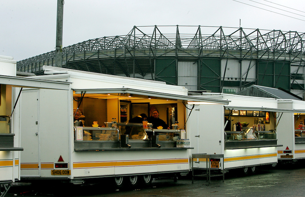 Burger bars line the streets of Celtic Park. Celtic v Barcelona, Uefa Champions League, Knockout phase, Celtic Park, Glasgow, Scotland. 20th February 2008.
