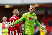 Dean Henderson of Sheffield United celebrates winning after the Premier League match between Sheffield United and Crystal Palace at Bramall Lane, Sheffield, England on 18 August 2019.