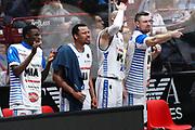 Esultanza panchina Mia Cantù, EA7 Emporio Armani Milano vs Mia Red October Cantù LBA Serie A 15^ giornata di ritorno stagione 2016/2017 Mediolanum Forum Assago, Milano 7 maggio 2017