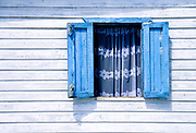 Blue window, white lace, Ambergris Caye, Belize