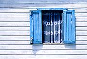 Blue window, white lace, Ambergris Caye, Belize