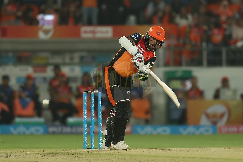 Shikhar Dhawan of the Sunrisers Hyderabad during match twenty five of the Vivo Indian Premier League 2018 (IPL 2018) between the Sunrisers Hyderabad and the Kings XI Punjab  held at the Rajiv Gandhi International Cricket Stadium in Hyderabad on the 26th April 2018.<br /> <br /> Photo by: Ron Gaunt /SPORTZPICS for BCCI