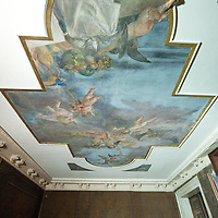 "A detailed view of one of the ""fresco"" at palazzo Papadopoli during the restoration works..Several major restoration works are being carried out in this period in Venice, the go to a complete refurbishment of the famous Gritti Palace Hotel, to transformation into a luxury VIP 7 stars hotel of XV century Palazzo Papadopoli to the restoration of the Church of the Gesuiti"
