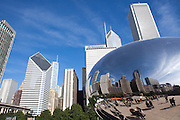 "Reflections of downtown Chicago in Cloud Gate sculpture, commonly known as ""The Bean."""