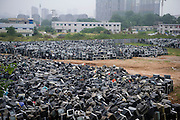 ZHUZHOU, CHINA - AUGUST 26: (CHINA OUT) <br /> <br /> Nearly 80,000 second-hand televisions are stacked at a yard awaiting recycling  in Zhuzhou, Hunan Province of China. Only about 5 percent of about 1 billion tonnes of construction waste generated each year in the country is recycled or reused, said Wang Jiwei, Secretary General of the China Association of Resource Comprehensive Utilization, at an ecological forum held in southwest China's Guizhou Province. <br /> ©Exclusivepix