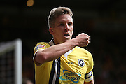 Millwall FC forward Steve Morison (20) scores a goal and celebrates to make the score 1-2 during the Sky Bet League 1 play off first leg match between Bradford City and Millwall at the Coral Windows Stadium, Bradford, England on 15 May 2016. Photo by Simon Davies.