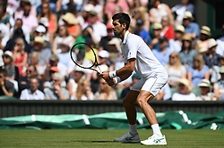LONDON, ENGLAND - Monday, July 1, 2019: Novak Djokovic (SRB) during the Gentlemen's Singles first round match on Day One of The Championships Wimbledon 2019 at the All England Lawn Tennis and Croquet Club. (Pic by Kirsten Holst/Propaganda)
