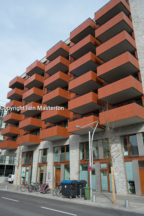 External view of modern upmarket apartment buildin in Hafen City property development in Hamburg Germany