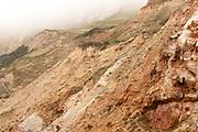Rock strata in the mist, Worbarrow Bay, Dorset, UK.