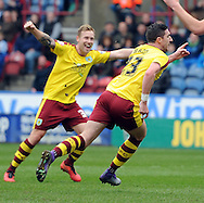 Stephen Ward (23) of Burnley during celebrates scoring the opening goal during the Sky Bet Championship match at the John Smiths Stadium, Huddersfield<br /> Picture by Graham Crowther/Focus Images Ltd +44 7763 140036<br /> 12/03/2016