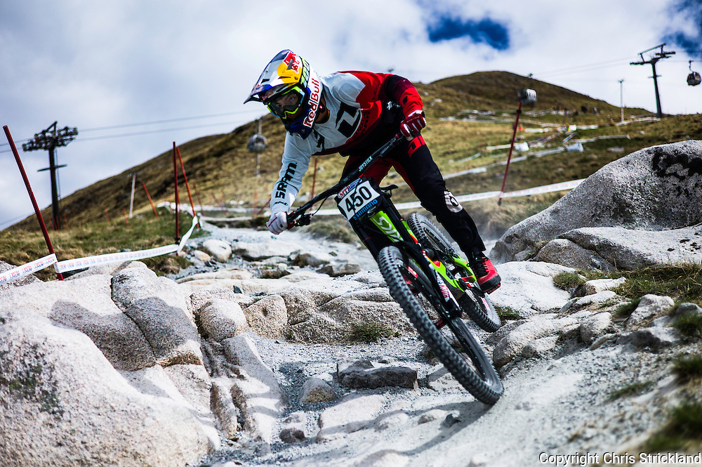 Nevis Range, Fort William, Scottish Highlands, UK. 15th May 2016. Canadian Finn Iless competes in the British Downhill Series on Nevis Range in the Scottish Highlands.