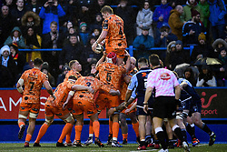Matthew Screech of Dragons wins the lineout for Dragons  - Ryan Hiscott/JMP - 26/12/19 - SPORT - Arms Park - Cardiff, Wales - Thursday, Dec 26 2019 - Guinness PRO14 Cardiff Blues vs Dragons