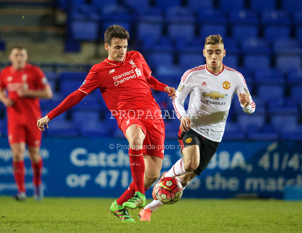 BIRKENHEAD, ENGLAND - Friday, March 11, 2016: Liverpool's Pedro Chirivella in action against Manchester United during the Under-21 FA Premier League match at Prenton Park. (Pic by David Rawcliffe/Propaganda)