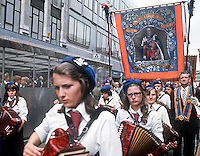 Twelfth procession passing the city centre, Belfast, N Ireland, on its way to The Field. 197607120331b<br />
