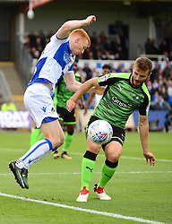 Rory Gaffney of Bristol Rovers is closed down by Jamie Ness of Plymouth Argyle - Mandatory by-line: Dougie Allward/JMP - 30/09/2017 - FOOTBALL - Memorial Stadium - Bristol, England - Bristol Rovers v Plymouth Argyle - Sky Bet League One