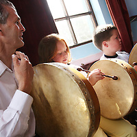 Paul Russell with Saoirse and Keenan Quinn during the Nell Galvin music festival in Moyasta at the weekend.<br />