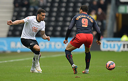 Reading's Chris Gunter plays the ball past Reading's Hal Robson-Kanu - Photo mandatory by-line: Alex James/JMP - Mobile: 07966 386802 - 14/02/2015 - SPORT - Football - Derby  - ipro stadium - Derby County v Reading - FA Cup - Fifth Round