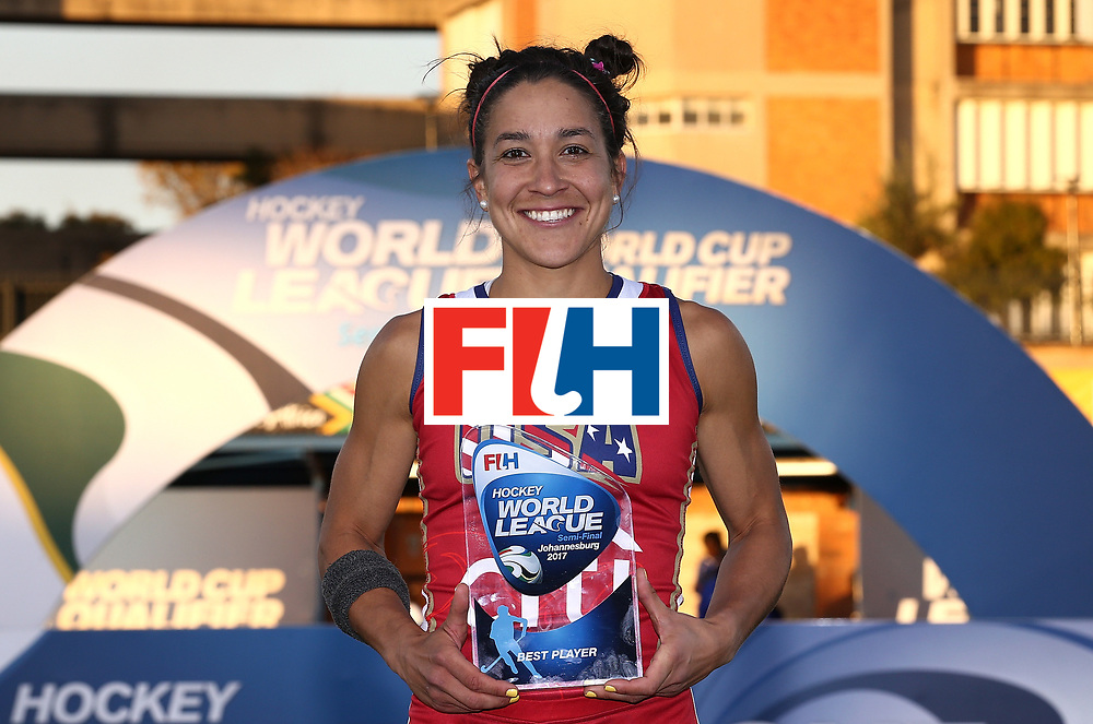JOHANNESBURG, SOUTH AFRICA - JULY 23:  Melissa Gonzalez of the U.S. poses with the best player award during day 9 of the FIH Hockey World League Women's Semi Finals at Wits University on July 23, 2017 in Johannesburg, South Africa.  (Photo by Jan Kruger/Getty Images for FIH)